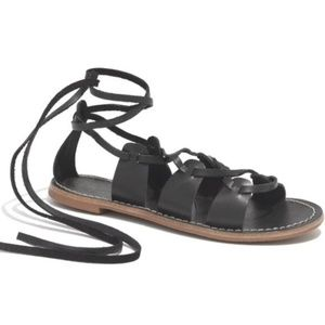 Madewell Black Gladiator Lace Up Sightseer Sandals